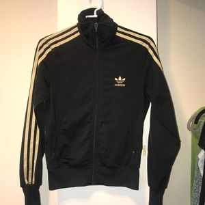 Adidas black and gold track top sz S